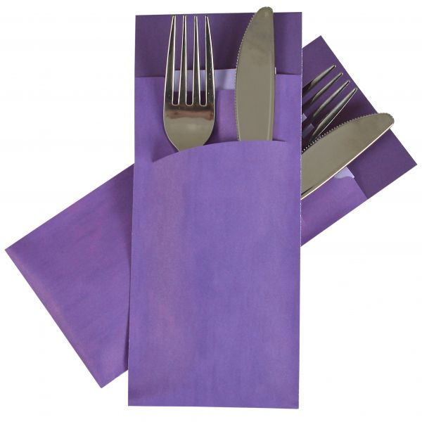 Pochetto Bestecktasche inkl. Serviette in violet, 200 x 85 mm, 520 Stk