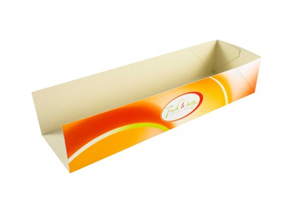 "Hot Dog Tray ""Fresh & Tasty"", 200 x 60 x 40 mm, 500 Stk"